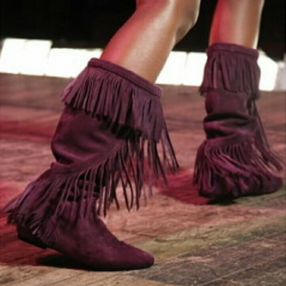 3e40e3d00415 Sam Edelman Purple Suede Utah Fringe Flat Boots